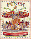 Front cover / frontispiece of Punch Magazine - Summer Number - 1934..Mr Punch on a fairground merry - go - round with lots of diverse people on the other carousel horses .   Illustration by EH Shepard .