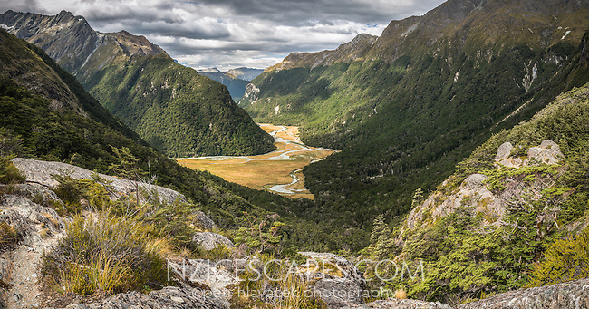 Views into Routeburn Flats from near Routeburn Falls hut, Mt. Aspiring National Park, UNESCO World Heritage Area, Central Otago, New Zealand, NZ