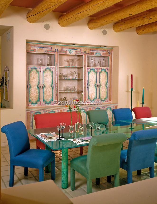 Santa Fe, Colorful, Decorator, Design Solutions,  Dining Room, Architectural, Wood Beams,  Interior, Design, home .jpg