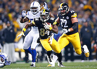 Antonio Brown #84 of the Pittsburgh Steelers runs after catching a pass in the first half against the Indianapolis Colts during the game at Heinz Field on December 6, 2015 in Pittsburgh, Pennsylvania. (Photo by Jared Wickerham/DKPittsburghSports)