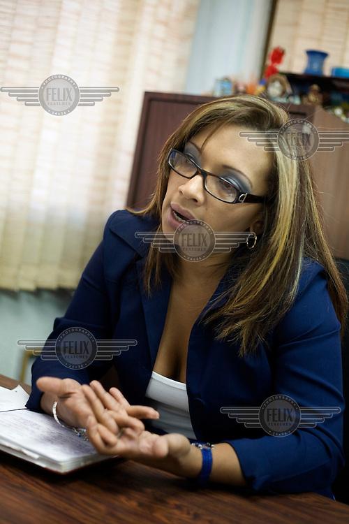 Neyla Isturdes, of the National Defender of Women's Rights (Defensora Nacional de los Derechos de la Mujer) organisation in the People's Defender offices (Defensoria del Pueblo) of INAMUJER (National Women's Institute).