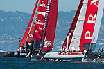 Emirates Team New Zealand leads in the first official practice race for the San Francisco America's Cup World Series regatta. 2/10/2012