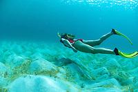Jen Gibbud snorkeling over the sand<br /> Caneel Bay Beach<br /> Virgin Islands National Park<br /> St. John, U.S. Virgin Islands