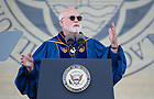 May 21, 2017; Laetare Medal recipient Rev. Gregory J. Boyle, S.J., founder and executive director of Homeboy Industries delivers his address at the 2017 Commencement ceremony in Notre Dame Stadium.  (Photo by Barbara Johnston/University of Notre Dame)