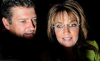 ATLANTA, GA - August 9, 2010: Todd and Sarah Palin greet supporters after Palin, the former Alaska governor and Republican Vice President candidate endorsed Karen Handel in the Georgia Republican Gubernatorial Runoff for governor at the Buckhead InterContinental Hotel. <br /> <br /> Handel lost the runoff to Nathan Deal one day later.