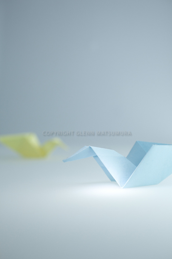 Paper cranes - blue and yellow paper cranes.