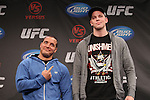 September 29, 2011; Washington D.C.; USA; Pat Barry (left) and Stefan Struve (right) pose at the final press conference for their upcoming bout at UFC on Versus 6.