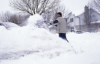 Snow Shovelling after Winter Storm