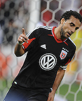 D.C. United forward Dwayne de Rosario (7) celebrates his second goal in the 43th minute of the game. D.C. United defeated Toronto FC 3-1 at RFK Stadium, Saturday May 19, 2012.