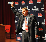 Hugh Freeze was announced as the new head coach of the Mississippi Rebels during a press conference at the Ford Center on campus in Oxford, Miss. on Monday, December 5, 2011. (AP Photo/Oxford Eagle, Bruce Newman)