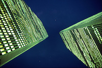 NYC, NY, World Trade Center, Twin Towers, night looking up, designed by Minoru Yamasaki, International Style II