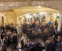 Travelers crowd Grand Central Terminal in New York on Wednesday, November 27, 2013, the beginning of the great exodus over the Thanksgiving weekend.  According to AAA, 43 million Americans will travel 50 miles or more, with Wednesday being the busiest travel day of the year.  (© Richard B. Levine)