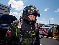 Sep 17, 2016; Concord, NC, USA; NHRA top fuel dragster driver Chris Karamesines during qualifying for the Carolina Nationals at zMax Dragway. Mandatory Credit: Mark J. Rebilas-USA TODAY Sports