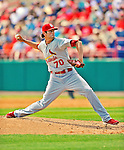 12 March 2012: St. Louis Cardinals pitcher Chuckie Fick in action during a Spring Training game against the Washington Nationals at Space Coast Stadium in Viera, Florida. The Nationals defeated the Cardinals 8-4 in Grapefruit League play. Mandatory Credit: Ed Wolfstein Photo