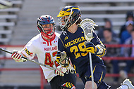 College Park, MD - April 1, 2017: Michigan Wolverines Rooco  Stherland (29) in action during game between Michigan and Maryland at  Capital One Field at Maryland Stadium in College Park, MD.  (Photo by Elliott Brown/Media Images International)