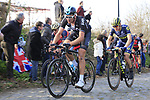 Riders including Ian Stannard (GBR) Team Sky and Chris Juul Jensen (IRL/DEN) Orica-Scott climb Oude Kwaremont during the 60th edition of the Record Bank E3 Harelbeke 2017, Flanders, Belgium. 24th March 2017.<br /> Picture: Eoin Clarke | Cyclefile<br /> <br /> <br /> All photos usage must carry mandatory copyright credit (&copy; Cyclefile | Eoin Clarke)