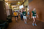 Joel Keefer, center, and Hannah Keefer, right, lead a group of incoming freshmen to their next destination at Bobcat Student Orientation on June 14,  2016. © Ohio University / Photo by Kaitlin Owens