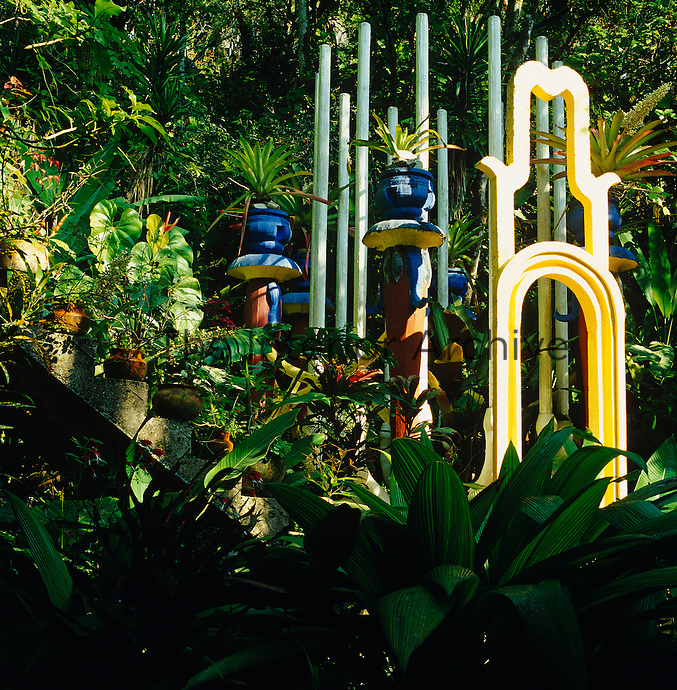 Lush vegetation engulfs Edward James' colourful installations in the pleasure garden of Las Pozas