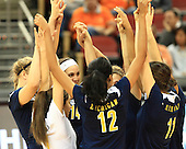 The University of Michigan volleyball team beat Tennessee, 3-2, in the first round of the 2012 NCAA Tournament at the KFC Yum! Center in Louisville, Ky., on November 29, 2012.