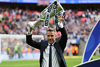 Millwall Manager, Neil Harris, holds the Trophy aloft as he celebrates winning the 2017 Division One Play-Off Final during Bradford City vs Millwall, Sky Bet EFL League 1 Play-Off Final at Wembley Stadium on 20th May 2017