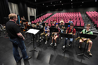 NWA Democrat-Gazette/J.T. WAMPLER Rick Salonen of Fayetteville leads the All-Star Jazz Ensemble, a group of high school musicians who are being trained by local jazz professionals Sunday April 9, 2017 at the Walton Arts Center in Fayetteville.