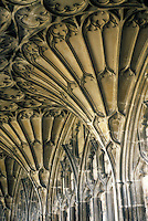 Gloucester: Gloucester Cathedral--Cloisters, detail of fan vaulting. 1370-1412. Photo '90.