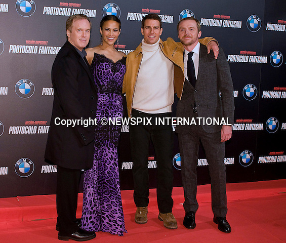 "BRAD BIRD, PAULA PATTON,TOM CRUISE AND SIMON PEGG.attends the premiere of his latest film 'Mission: Impossible - Ghost Protocol'Madrid, Spain_12/12/2011.Mandatory Credit Photo: ©NEWSPIX INTERNATIONAL..                 **ALL FEES PAYABLE TO: ""NEWSPIX INTERNATIONAL""**..IMMEDIATE CONFIRMATION OF USAGE REQUIRED:.Newspix International, 31 Chinnery Hill, Bishop's Stortford, ENGLAND CM23 3PS.Tel:+441279 324672  ; Fax: +441279656877.Mobile:  07775681153.e-mail: info@newspixinternational.co.uk"