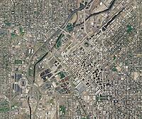 aerial map of Denver, Colorado