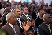 United States President Barack Obama, first lady Michelle Obama, and daughters Malia (partially seen at left) and Sasha attend church services at Zion Baptist Church in Washington, D.C., Sunday, January 15, 2012. .Mandatory Credit: Pete Souza - White House via CNP
