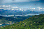 idaho, Northern, Bonner County, Sandpoint, Sagle. Lake Pend Oreille as viewed from Gold Mountain with snowy Cabinet Mountains distant on a spring day.