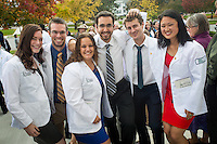 Meghan Breen, from left, Alexander Thomas, Jordan Taylor, Kyle Concannon, Joshua Cohen, Melanie Ma. Class of 2017 White Coat Ceremony.