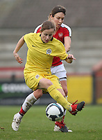 Katerina Doskova shields the ball from Corrine Yorston of Arsenal - Arsenal Ladies vs Sparta Prague - UEFA Women's Champions League at Boreham Wood FC - 11/11/09 - MANDATORY CREDIT: Gavin Ellis/TGSPHOTO - Self billing applies where appropriate - Tel: 0845 094 6026