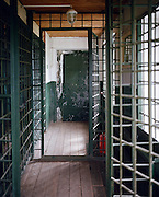 The entrance to the guardhouse in the maximum security zone. Perm province, Russia 2015