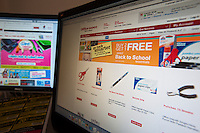 Back to school supplies are seen on the websites of Office Depot, right, and Staples on Monday, July 19, 2010. An estimated 30.8% of households will shop online this year compared with 22.2% last year. (© Richard B. Levine).
