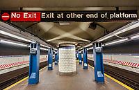 York Street subway station on the F line in the Dumbo neighborhood of New York on Saturday, April 1, 2017. (© Richard B. Levine)
