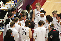 19 March 2007: Tara Vanderveer talks with Candice Wiggins, Kristen Newlin, Melanie Murphy, Cissy Pierce, Michelle Harrison, Jillian Harmon, Morgan Clyburn, Brooke Smith, Jayne Appel, Christy Titchenal and Markisha Coleman during Stanford's 68-61 second round loss to Florida State in the 2007 NCAA Division I Women's Basketball Championships at Maples Pavilion in Stanford, CA.