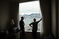 Joe and Annie admiring the view from Joe and Karen's hotel room Hong Kong, China