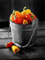 Mixed red, yellow & orange fresh bell peppers photos, pictures & images