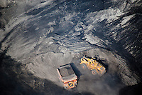 aerial photograph excavator working coal mine Southern Wyoming