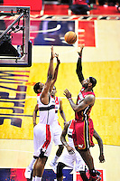 Lebron James of the Heat goes up for a one-handed shot. Washington Wizards defeated the Miami Heat 105-101 at the Verizon Center in Washington, D.C. on Tuesday, December 4, 2012.   Alan P. Santos/DC Sports Box