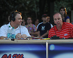Head coach Houston Nutt (left) does his weekly radio show with David Kellum following an Ole Miss pep rally in the Grove in Oxford, Miss. on Thursday, September 1, 2011.