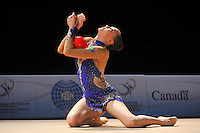Anna Alyabyeva of Kazakhstan performs with ball during event finals at World Cup Montreal on January 30, 2011.  (Photo by Tom Theobald).
