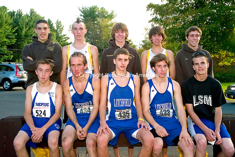 THOMASTON, CT-- 16 OCTOBER 2007--101607JS21-The boys All-Berkshire League Cross Country team, front row, from left, Jay McGorty-Shepaug; Kyle Courtney-Litchfield; Jeremy Schmid-Litchfield; Colby Costa-Litchfield and Tom Rabinko-Lewis Mills. Back row, from left, JD Duncan-Thomaston; Ray LaPointe-Thomaston; Rich Klauber-Thomaston; Josh Olsen-Thomaston and Eric Normandin-Thomaston.<br /> Jim Shannon / Republican-American