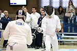 11 February 2017: UNC's Matt Shlimak (right) and Duke's Dakota Nollner (left) during Epee. The Duke University Blue Devils hosted the University of North Carolina Tar Heels at Card Gym in Durham, North Carolina in a 2017 College Men's Fencing match. Duke won the dual match 19-8 overall, 6-3 Foil, 6-3 Epee, and 7-2 Saber.