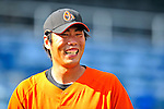 14 March 2009: Baltimore Orioles' pitcher Koji Uehara smiles prior to a Spring Training game against the Boston Red Sox at Fort Lauderdale Stadium in Fort Lauderdale, Florida. The Orioles defeated the Red Sox 9-8 in the Grapefruit League matchup. Mandatory Photo Credit: Ed Wolfstein Photo