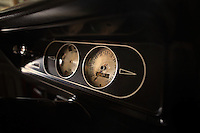 Reinholds, Pennsylvania, February 10, 2015 - A detail of the dash of Brian Moyer's 1971 Base Model AMC Gremlin in matador red. Moyer restored the car over 20 years ago. He says the beauty of this car is in its simplicity. <br /> <br /> Moyer owns 16 AMC Gremlins. The Gremlin was introduced on April Fools Day (April 1) in 1970 featuring a shortened Hornet body with a Kammback tail and was manufactured in the US via AMC and in Mexico via AMC's subsidiary VAM. It's lifecycle ended in 1978 when it was replaced by the AMC Spirit. Moyer became interested as a kid when he saw the early Gremlin commercials in 1970. His first car was a Gremlin and he has never not owned one. Today he has arguably the most unique collection of Gremlins in the world, including several that are one-of-a kind models. <br /> <br /> CREDIT: Daryl Peveto for The Wall Street Journal<br /> Photo Assignment ID: 36892 <br /> Slug: MYRIDE_Gremlin