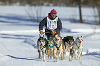 John Gallahorn, day three of the oldest continuously run sled dog race in the world, the 2003 Open North American Sled dog championships, Fairbanks, Alaska. The annual race consists of three daily races, the combined fastest time wins.