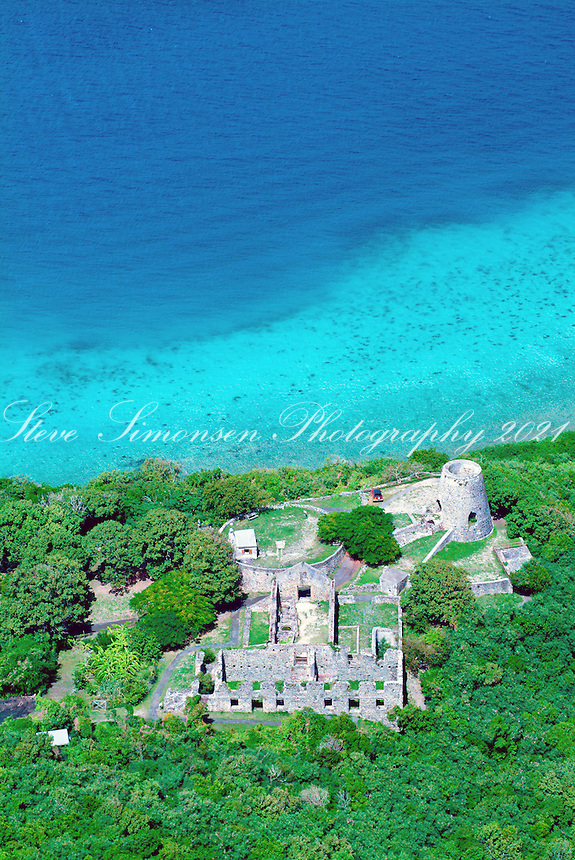 Aerial view of Annaberg Ruins on St John<br /> Virgin Islands National Park