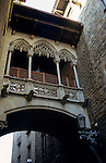 Europe, Spain, Barcelona. The Bridge of Sighs in the old gothic quarter of Barcelona.