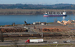 Truck, train, and ship along the mighty Columbia River, Kalama, WA